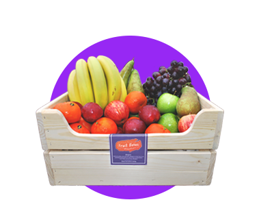 A Seasonal Office Fruit Box with Purple Circle Background