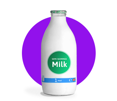 A pint of office milk in a glass bottle